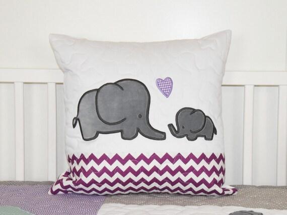 Elephant Pillow Decorative Kids Pillow Girl Nursery Decor Purple and Gray