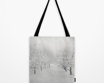Tote Bag, Winter White Apple Orchard Tote Bag, Market Bag, Book Bag,White Gray Black Market Shopping Sling Bag, 13x13 16x16 18x18 Tote Bag