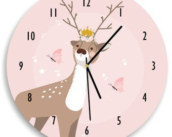 Deer nursery wall clock, Deer clock, Woodland nursery decor  - kids room Blush, Pink, Deer, Woodland | Girl Woodland Nursery