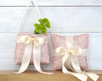 Ring Bearer Pillow and Flower Girl Basket Set, Ring Bearer Pillow, Flower Girl Basket, Light Blush Ring Bearer Pillow and Flower Girl Basket
