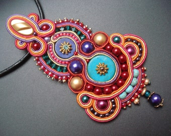 Unique handmade soutache/soutasz NECKLACE, boho gypsy hippie style: Harem