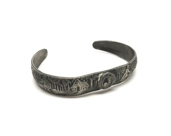 Vintage 1934 Chicago Worlds Fair Bracelet, Century of Progress, Red Riding Hood, Fairy Tale, Carved, Metal, Silver, Woman's Bracelet
