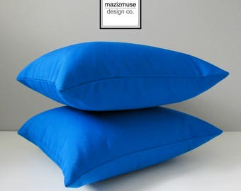 Cobalt Blue Outdoor Pillow Cover, Decorative Pillow Cover, Pacific Blue Sunbrella Cushion Cover, Cobalt Blue Throw Pillow Case, Mazizmuse