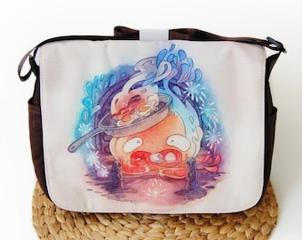 Calcifer from Howl's Moving Castle May All Your Bacon Burn Messenger Bag