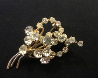 "Vintage Sparkling Clear Rhinestone Brooch ""Outstanding"" Exquisite Detail  Art Deco Style"