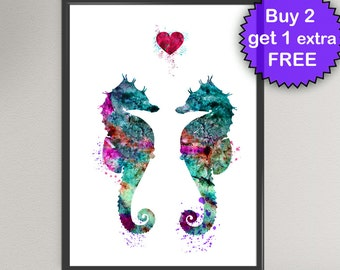 SEAHORSE LOVE Watercolor Art Print Sea Life Ink Painting Underwater illustrations Art Print Wall Art Poster Giclée Wall Decor Art Home (Nº2)