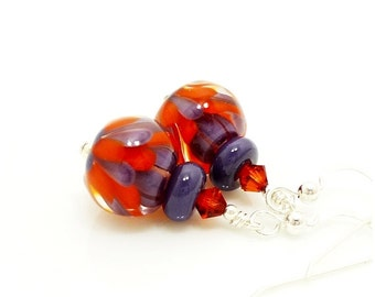 Orange and Purple Earrings, Lampwork Earrings, Glass Earrings, Glass Bead Earrings, Unique Earrings, Lotus Flower Earrings, Unusual Earrings
