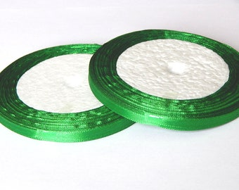 1 roll of 23 meters of 6mm Green satin ribbon