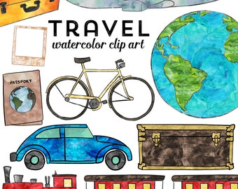 Travel Clipart, Watercolor Travel Clip Art, Instant Download, Commercial Use