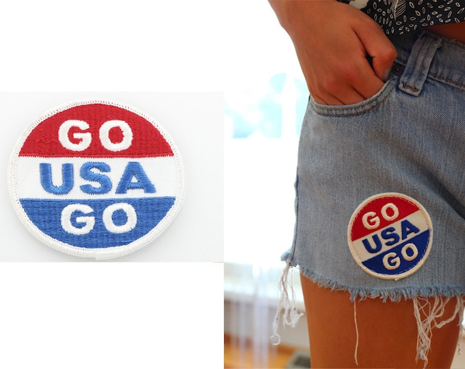 USA Patch Go USA Go Vintage Patch Team USA Backpack Patch Red White and Blue United States of America Patch Accessory Merica Shirt Patriotic