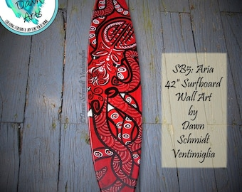 "Tribal Octopus Surfboard Wall Art, 42"" x 9"", Free Shipping, red, black, white, #SB5 'Aria'"