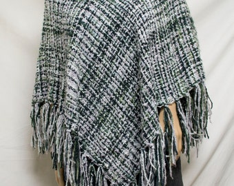 Poncho top,Gray Knit Poncho Gray ,Green,black,with Collar ,Fringed