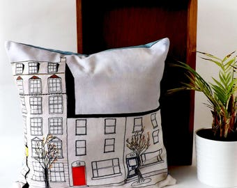 Terraced Houses Cardiff - Printed and Embroidered Cushion Cover with Blue Backing Fabric 40 x 40cm
