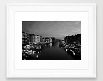 Venice Photography Art, Canal Grande Venice Wall Art, Venice Italy Art, Venice Photo For Living Room, dark black white architecture Photos