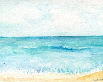 Aruba original seascape watercolor painting, 4 x 6 original painting, Caribbean watercolor, beach art