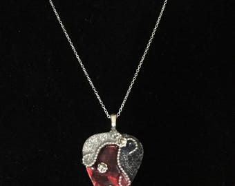Red Silver and Sterling Guitar pick necklace