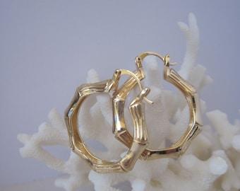 "Classic Bamboo 1.25"" Diameter Smooth & Striated Hoop Earrings"