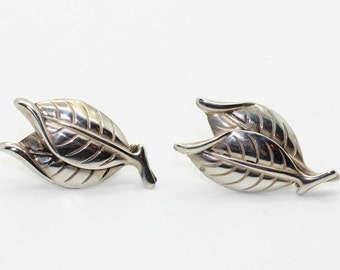 Antique Sterling Silver Signed JEWEL ART Leaves Leaf Earrings-Screw-Back-Estate Jewelry!