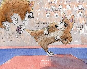 Corgi dog 8x10 print - The OlympiCorgi Games - taekwondo
