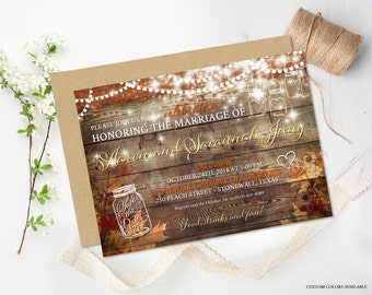 Rustic Fall Wedding Reception Invitation Rustic Party Invitation Autumn Wedding DIY Wedding Invite