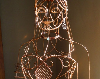 Ethereal Woman Life Size Wire Sculpture