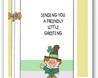 Cute St. Patrick's Day Card Set - Sending You a Friendly Little Greeting- 12 Cards & 19 Envelopes - 16103b