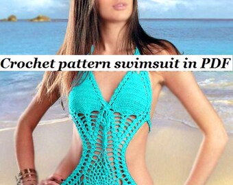 Crochet Pattern  Monokini   instruction with Charts, pictures in PDF Files.