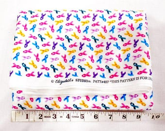 Fabric -2 yd piece-Awareness Ribbons (#2979) - cancer awareness ribbons/pink/teal/yellow/purple/blue/colon/breast/liver/ovarian/pancreatic