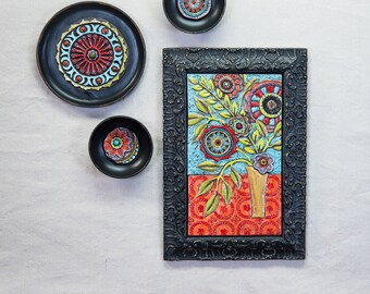 Gallery Wall Art Collage READY TO SHIP Mosaic Wall Art Set of 4 Colorful Mosaic Tile Ceramic Wall Sculpture Tile Wall Art Boho Entryway Art
