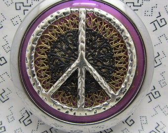 Peace compact mirror - purple mirror -round compact mirror - mirror with pouch - pocket mirror - hippie compact mirror - peace sign