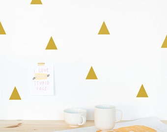 Gold triangle wall decals, Silver triangle wall decals, metallic wall decals, triangle pattern decals, gold triangle stickers