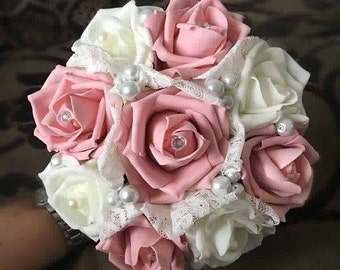 Stunning vintage lace pearl flower girl bouquet - other colours and sizes available!