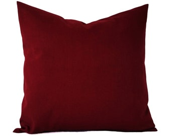 Solid Red Pillow Cover - Deep Red Pillow Cover - Linen Pillow Cover - Solid Red Throw Pillow - Custom Decorative Pillow - 16 x 16 Pillow 18