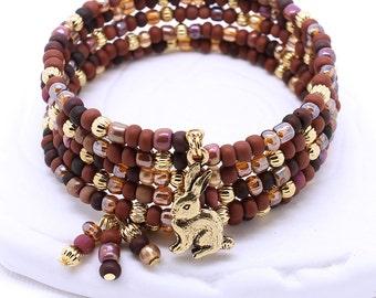 Chocolate Box Beaded Bracelet - Gold Memory Wire, Antique Gold Bunny Rabbit Charm, Czech Glass Seed Beads, Wrap Bracelet
