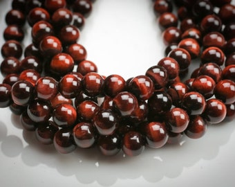 "Red Tiger Eye 15"" strand 8MM & 12 MM Smooth and Round"