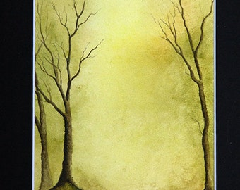 Mounted Original Watercolour Tree Painting A4