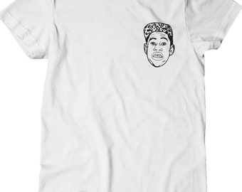 Tyler The Creator Shirt - Tyler Small Left Chest -  White with Black Print