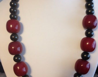 Red and Black Chunky Necklace.