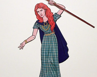 Boudica Celtic Iceni Queen Articulated Paper Doll, Boudicca