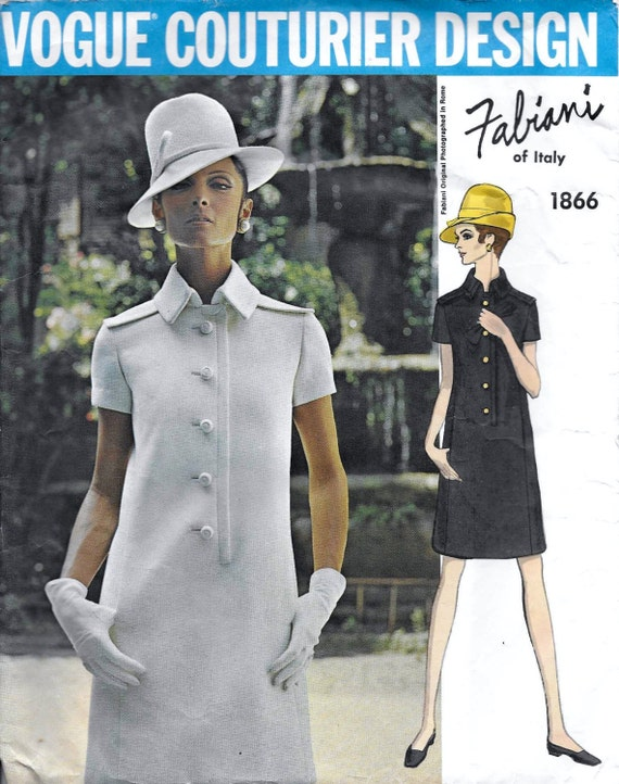 1960s Fabiani dress pattern feat. Mirella Petteni Haggiag - Vogue Couturier Design 1866