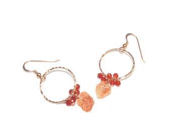 Rose, Sunstone and carnelian Vermeil earrings