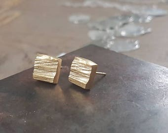 Gold square earrings, square stud earrings, gold earrings studs, gold square studs, rustic stud earrings, geometric studs, small gold studs