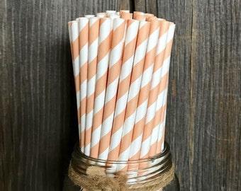 Peach Paper Straws, 100 Coral Straws, Peach Stripe, Stripe Straws, Wedding, Birthday Party, Shower, Wedding Supply,  Free Shipping