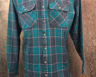 Vintage 1980's Green Plaid Flannel Shirt Size  Medium