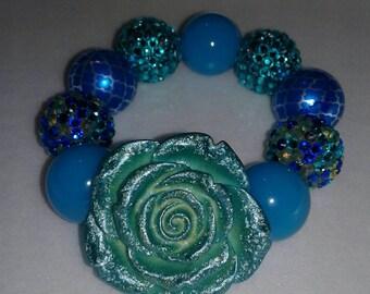 Turquoise aqua blue chunky bead bracelet
