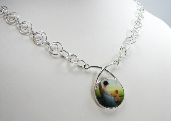 Sterling Drop Festoon Pendant on a Necklace made of sterling rings - P3N