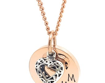 Coorabell Crafts Rose Gold Mum Pendant with Sterling silver love heart charm. Neckalce and pendant with stylish gift box.