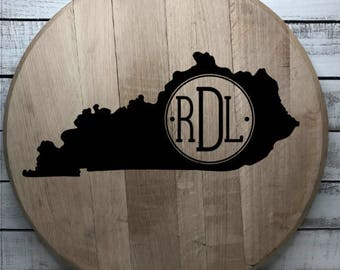 Bourbon Barrel Head/Wedding Gift/Home Decor/State Monogram/Personalization