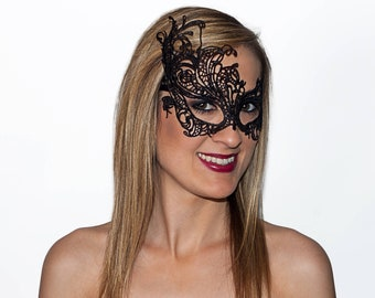 Black Lace Venetian Victorian Mask, Masquerade Mask