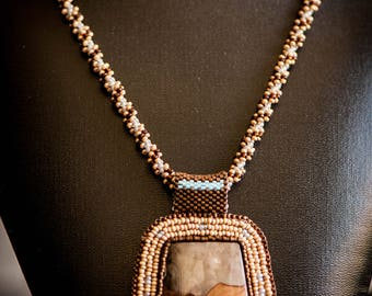Picture Jasper, Beaded Cabochon, Necklace with Earrings